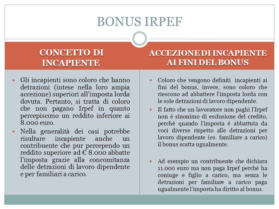 CONCETTO DI INCAPIENTE ACCEZIONE DI INCAPIENTE AI FINI DEL BONUS Gli incapienti sono coloro che hanno detrazioni (intese nella loro ampia accezione) s