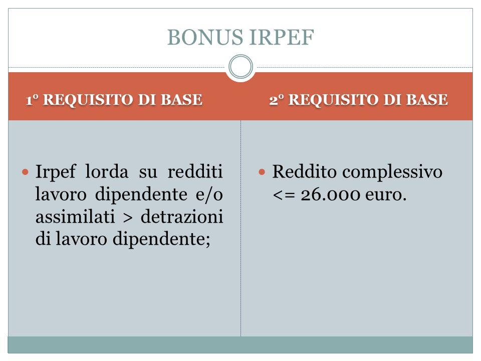 1° REQUISITO DI BASE 2° REQUISITO DI BASE Irpef lorda su redditi lavoro dipendente e/o assimilati > detrazioni di lavoro dipendente; Reddito complessi