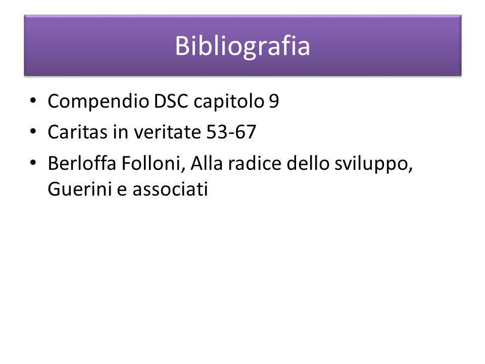Bibliografia Compendio DSC capitolo 9 Caritas in veritate 53-67 Berloffa Folloni, Alla radice dello sviluppo, Guerini e associati