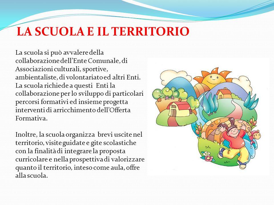 LA SCUOLA E IL TERRITORIO La scuola si può avvalere della collaborazione dell'Ente Comunale, di Associazioni culturali, sportive, ambientaliste, di volontariato ed altri Enti.