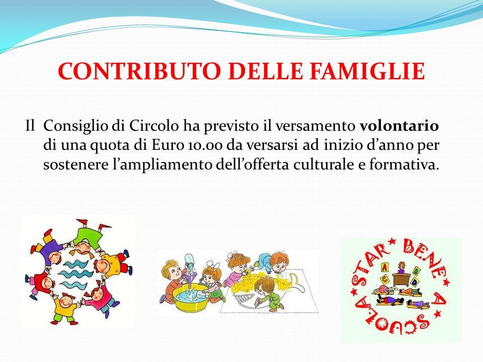 CONTRIBUTO DELLE FAMIGLIE Il Consiglio di Circolo ha previsto il versamento volontario di una quota di Euro 10.00 da versarsi ad inizio d'anno per sostenere l'ampliamento dell'offerta culturale e formativa.