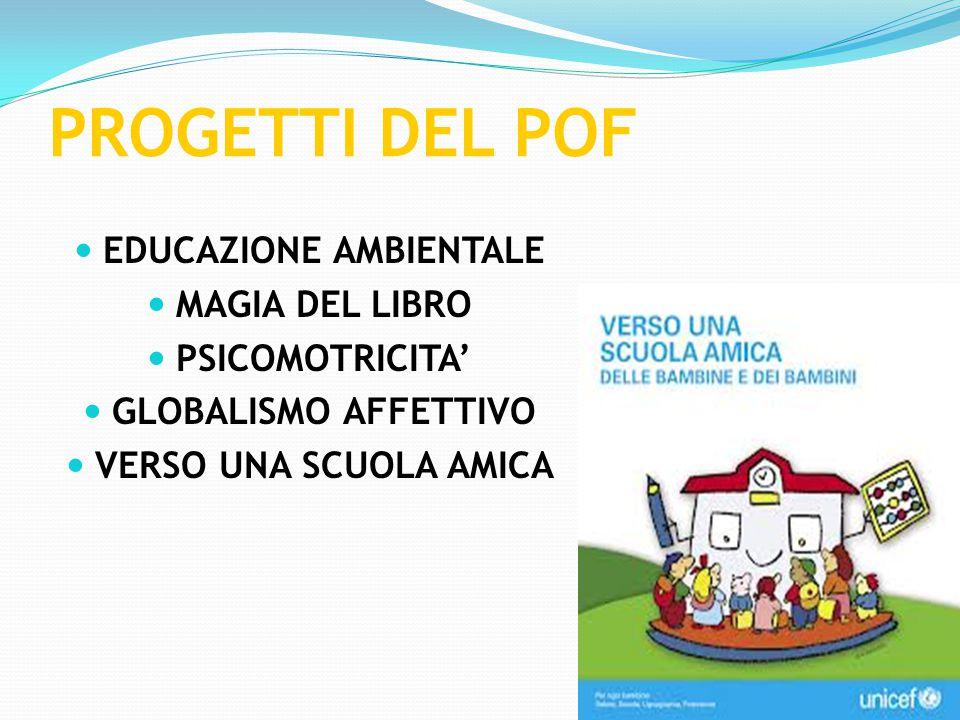 PROGETTI DEL POF EDUCAZIONE AMBIENTALE MAGIA DEL LIBRO PSICOMOTRICITA' GLOBALISMO AFFETTIVO VERSO UNA SCUOLA AMICA