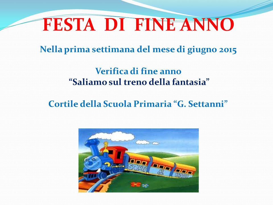 Nella prima settimana del mese di giugno 2015 Verifica di fine anno Saliamo sul treno della fantasia Cortile della Scuola Primaria G.