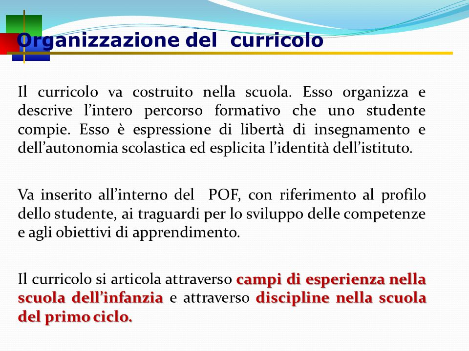 Organizzazione del curricolo Il curricolo va costruito nella scuola.