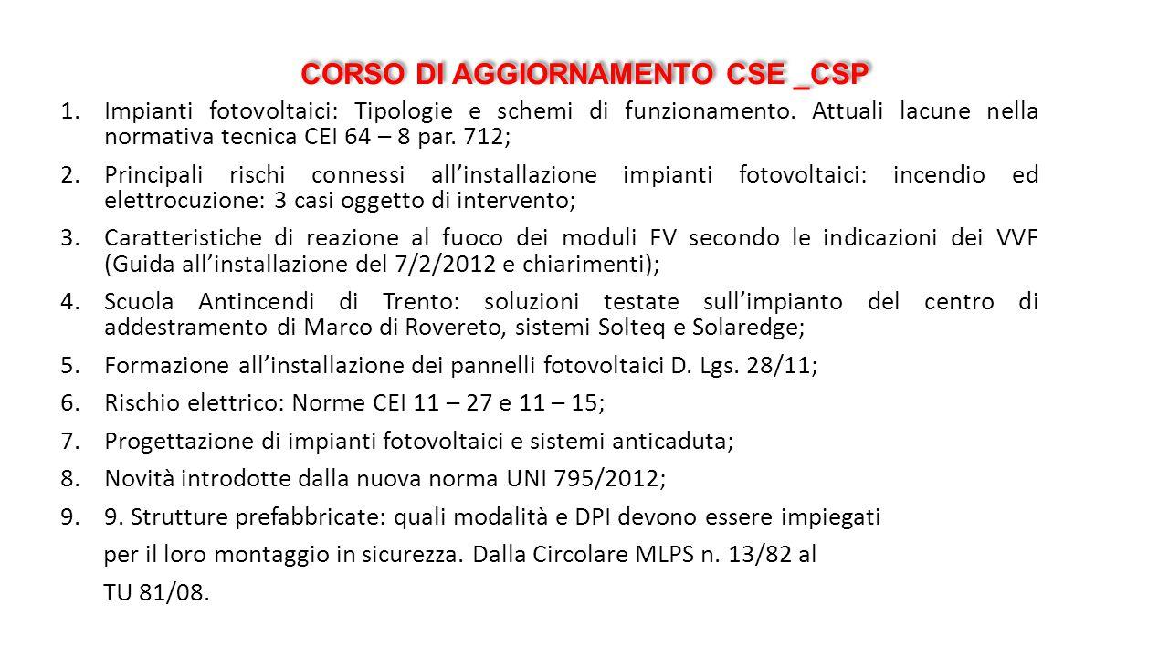 CORSO DI AGGIORNAMENTO CSE _CSP 1.Impianti fotovoltaici: Tipologie e schemi di funzionamento. Attuali lacune nella normativa tecnica CEI 64 – 8 par. 7