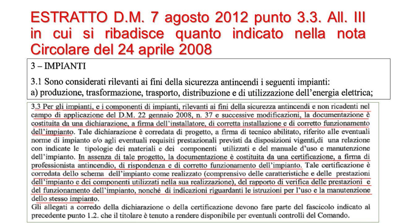 ESTRATTO D.M. 7 agosto 2012 punto 3.3. All. III in cui si ribadisce quanto indicato nella nota Circolare del 24 aprile 2008