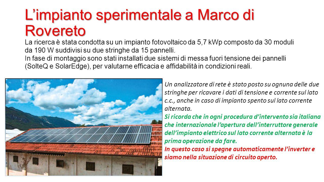 L'impianto sperimentale a Marco di Rovereto La ricerca è stata condotta su un impianto fotovoltaico da 5,7 kWp composto da 30 moduli da 190 W suddivis