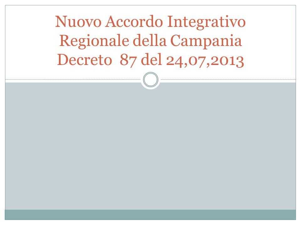 Nuovo Accordo Integrativo Regionale della Campania Decreto 87 del 24,07,2013
