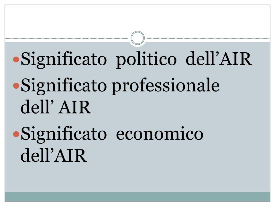 Significato politico dell'AIR Significato professionale dell' AIR Significato economico dell'AIR