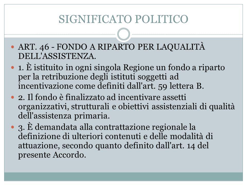 SIGNIFICATO POLITICO ART. 46 - FONDO A RIPARTO PER LAQUALITÀ DELL'ASSISTENZA. 1. È istituito in ogni singola Regione un fondo a riparto per la retribu