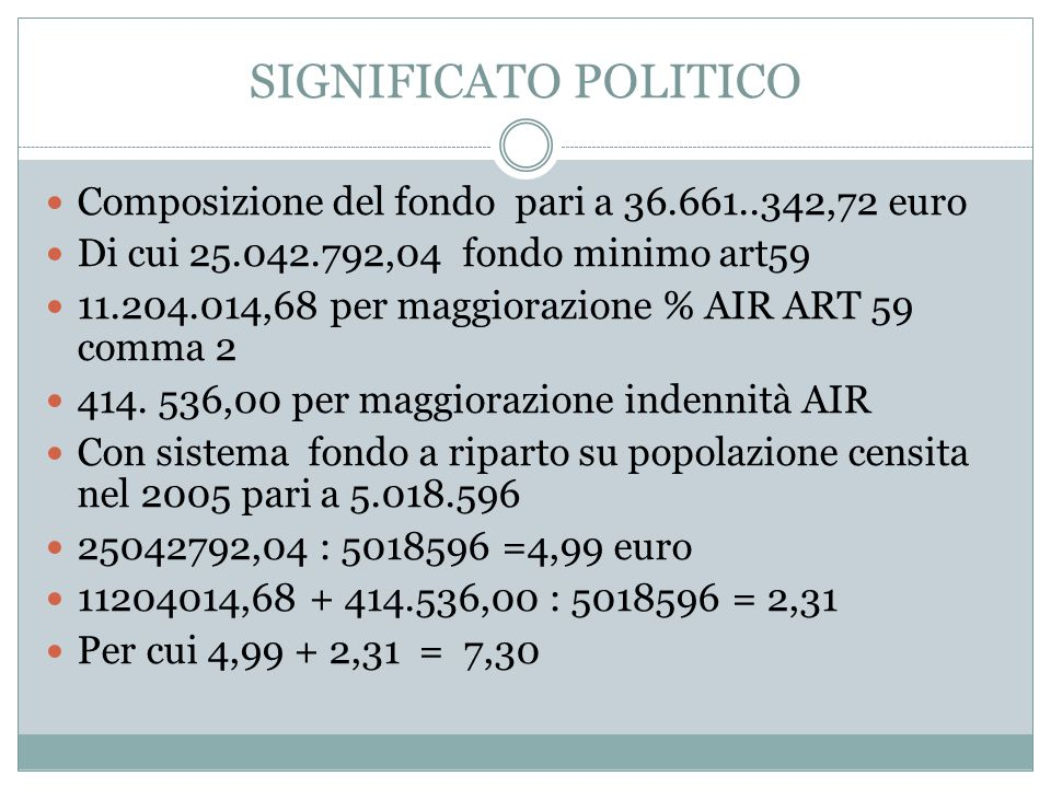 SIGNIFICATO POLITICO Composizione del fondo pari a 36.661..342,72 euro Di cui 25.042.792,04 fondo minimo art59 11.204.014,68 per maggiorazione % AIR A