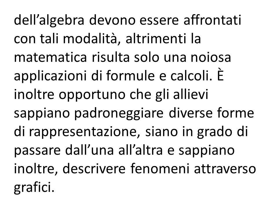 dell'algebra devono essere affrontati con tali modalità, altrimenti la matematica risulta solo una noiosa applicazioni di formule e calcoli.
