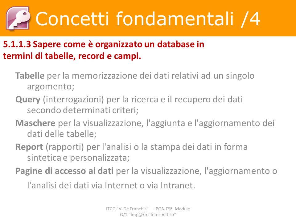 Tabelle per la memorizzazione dei dati relativi ad un singolo argomento; Query (interrogazioni) per la ricerca e il recupero dei dati secondo determin