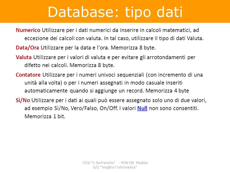 Numerico Utilizzare per i dati numerici da inserire in calcoli matematici, ad eccezione dei calcoli con valuta. In tal caso, utilizzare il tipo di dat
