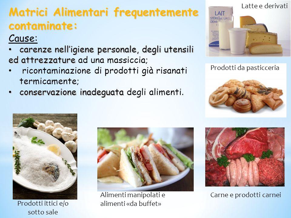 Matrici Alimentari frequentemente contaminate: Cause: carenze nell'igiene personale, degli utensili carenze nell'igiene personale, degli utensili ed a
