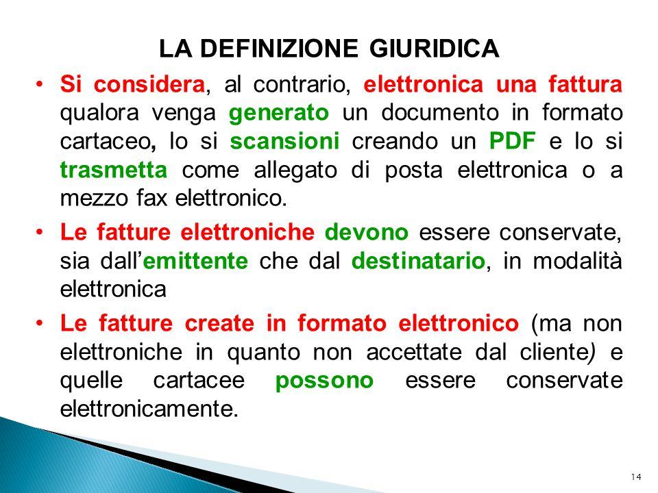 14 LA DEFINIZIONE GIURIDICA Si considera, al contrario, elettronica una fattura qualora venga generato un documento in formato cartaceo, lo si scansio