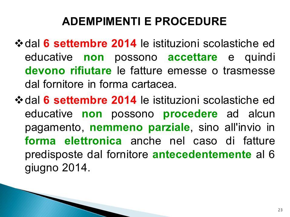 23 ADEMPIMENTI E PROCEDURE  dal 6 settembre 2014 le istituzioni scolastiche ed educative non possono accettare e quindi devono rifiutare le fatture e