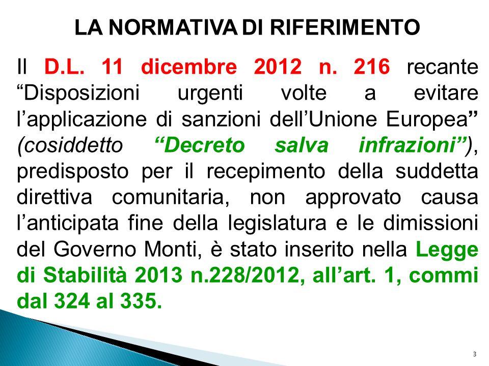 """3 LA NORMATIVA DI RIFERIMENTO Il D.L. 11 dicembre 2012 n. 216 recante """"Disposizioni urgenti volte a evitare l'applicazione di sanzioni dell'Unione Eur"""