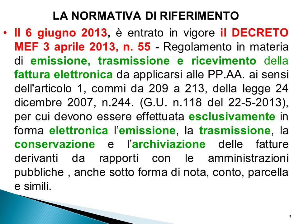 5 LA NORMATIVA DI RIFERIMENTO Il 6 giugno 2013, è entrato in vigore il DECRETO MEF 3 aprile 2013, n. 55 - Regolamento in materia di emissione, trasmis