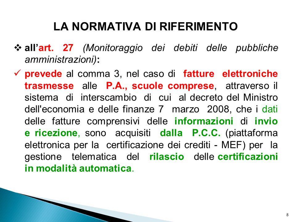 8 LA NORMATIVA DI RIFERIMENTO  all'art. 27 (Monitoraggio dei debiti delle pubbliche amministrazioni): prevede al comma 3, nel caso di fatture elettro