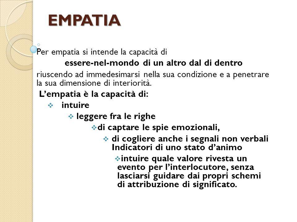EMPATIA Per empatia si intende la capacità di essere-nel-mondo di un altro dal di dentro riuscendo ad immedesimarsi nella sua condizione e a penetrare