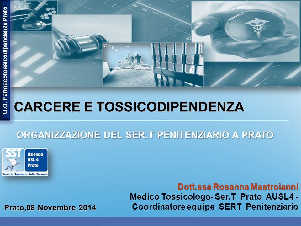 Dott.ssa Rosanna Mastroianni Medico Tossicologo- Ser.T Prato AUSL4 - Coordinatore equipe SERT Penitenziario Prato,08 Novembre 2014 CARCERE E TOSSICODIPENDENZA CARCERE E TOSSICODIPENDENZA ORGANIZZAZIONE DEL SER.
