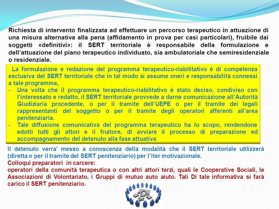 La formulazione e redazione del programma terapeutico-riabilitativo è di competenza esclusiva del SERT territoriale che in tal modo si assume oneri e