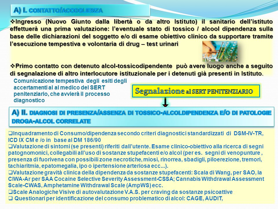  Ingresso (Nuovo Giunto dalla libertà o da altro Istituto) il sanitario dell'istituto effettuerà una prima valutazione: l'eventuale stato di tossico