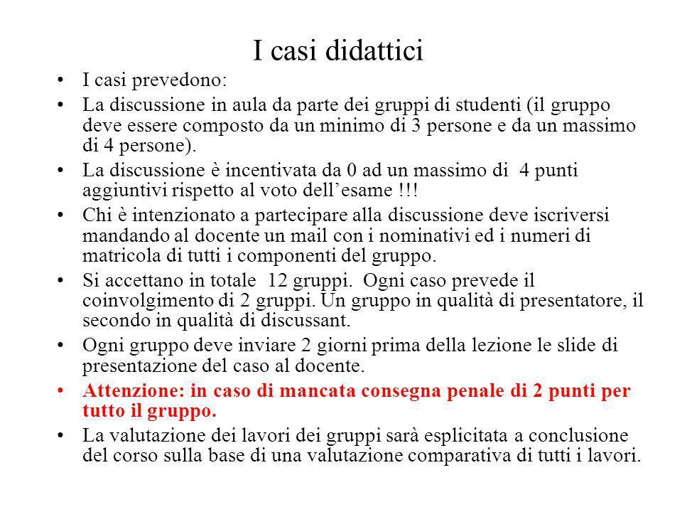 I casi didattici I casi prevedono: La discussione in aula da parte dei gruppi di studenti (il gruppo deve essere composto da un minimo di 3 persone e