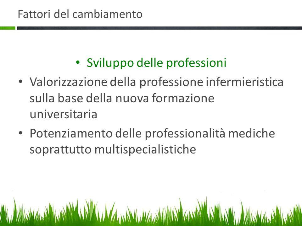 Fattori del cambiamento Sviluppo delle professioni Valorizzazione della professione infermieristica sulla base della nuova formazione universitaria Potenziamento delle professionalità mediche soprattutto multispecialistiche