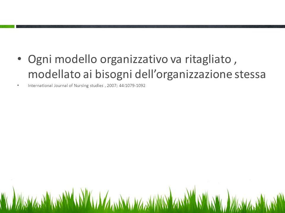 Ogni modello organizzativo va ritagliato, modellato ai bisogni dell'organizzazione stessa International Journal of Nursing studies, 2007; 44:1079-1092