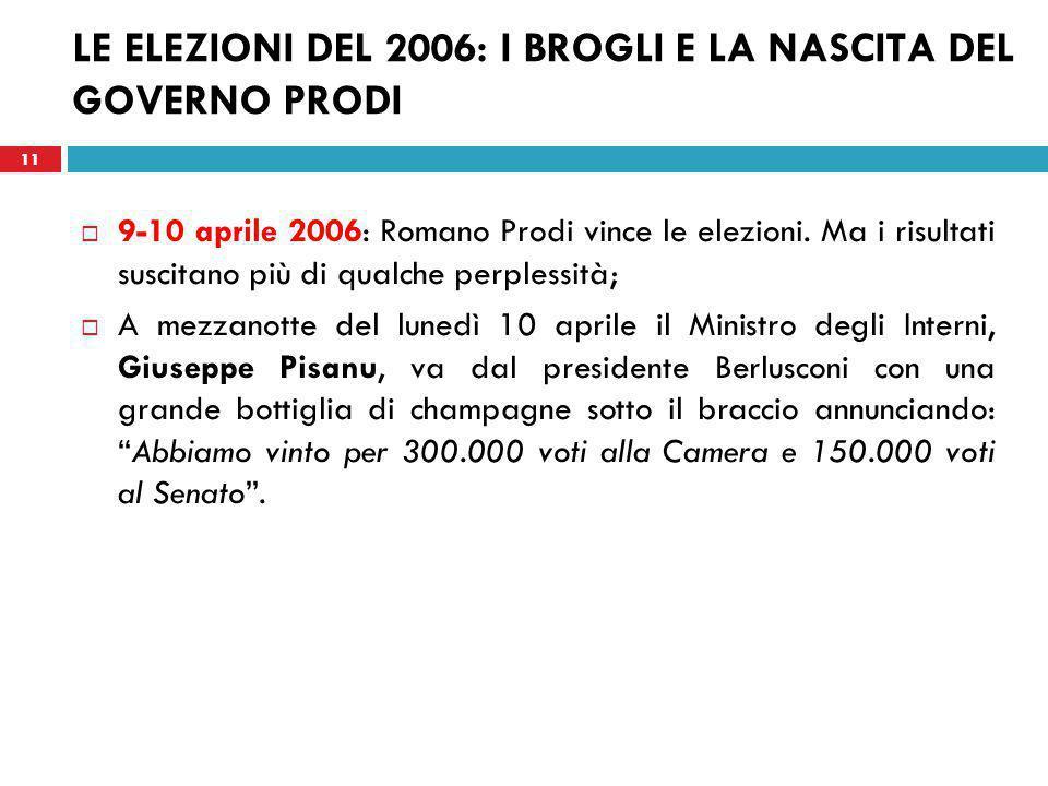 11 LE ELEZIONI DEL 2006: I BROGLI E LA NASCITA DEL GOVERNO PRODI  9-10 aprile 2006: Romano Prodi vince le elezioni.
