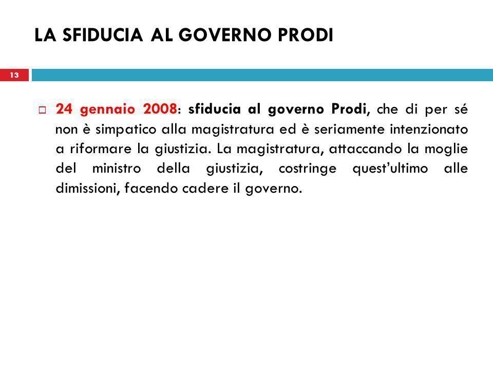 13 LA SFIDUCIA AL GOVERNO PRODI  24 gennaio 2008: sfiducia al governo Prodi, che di per sé non è simpatico alla magistratura ed è seriamente intenzionato a riformare la giustizia.