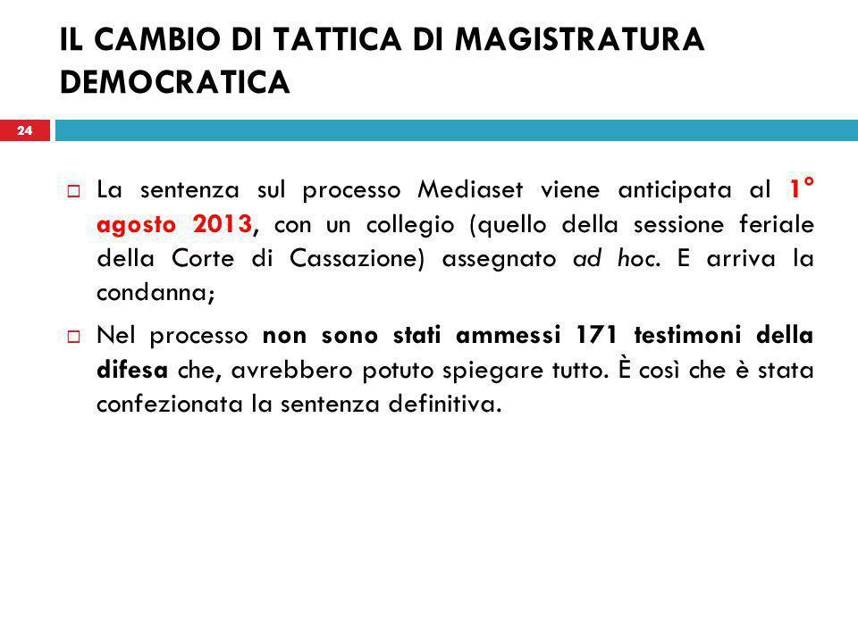 24 IL CAMBIO DI TATTICA DI MAGISTRATURA DEMOCRATICA  La sentenza sul processo Mediaset viene anticipata al 1° agosto 2013, con un collegio (quello della sessione feriale della Corte di Cassazione) assegnato ad hoc.