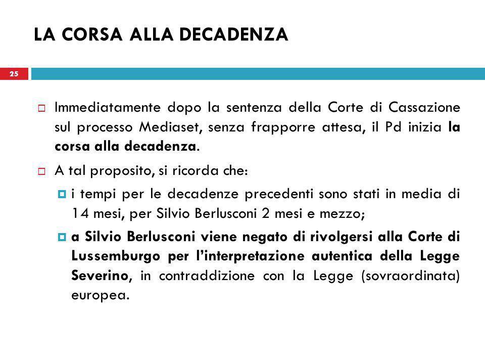 25 LA CORSA ALLA DECADENZA  Immediatamente dopo la sentenza della Corte di Cassazione sul processo Mediaset, senza frapporre attesa, il Pd inizia la corsa alla decadenza.