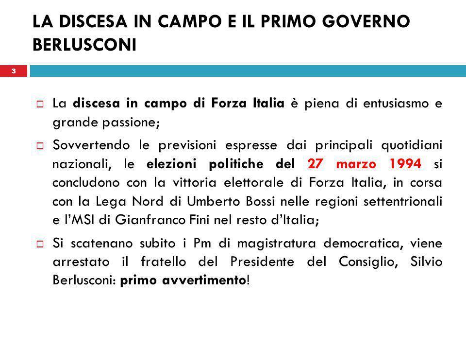 14 LA NASCITA DEL QUARTO GOVERNO BERLUSCONI  Il 14 aprile 2008 la coalizione formata da Popolo della Libertà, Lega Nord e Movimento per l'Autonomia, con Berlusconi presidente vince le elezioni politiche con circa il 46,8% dei voti e ottiene un'ampia maggioranza in entrambi i rami del Parlamento.