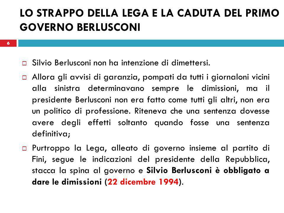 6 LO STRAPPO DELLA LEGA E LA CADUTA DEL PRIMO GOVERNO BERLUSCONI  Silvio Berlusconi non ha intenzione di dimettersi.