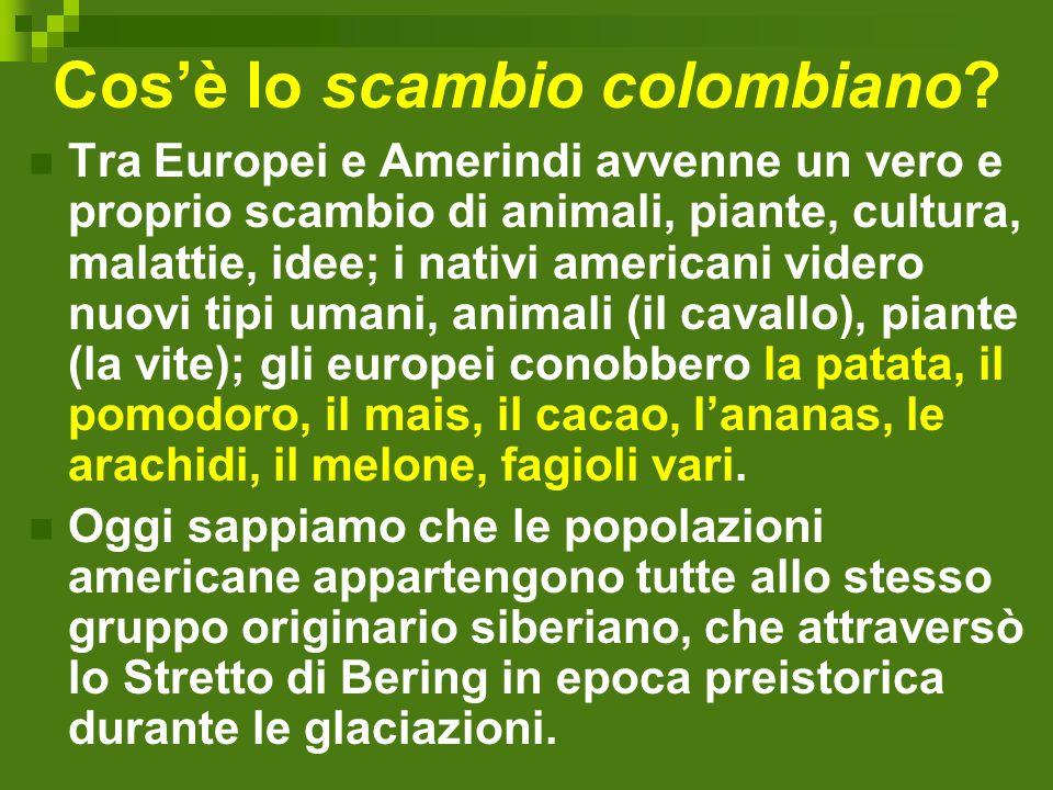 Cos'è lo scambio colombiano? Tra Europei e Amerindi avvenne un vero e proprio scambio di animali, piante, cultura, malattie, idee; i nativi americani