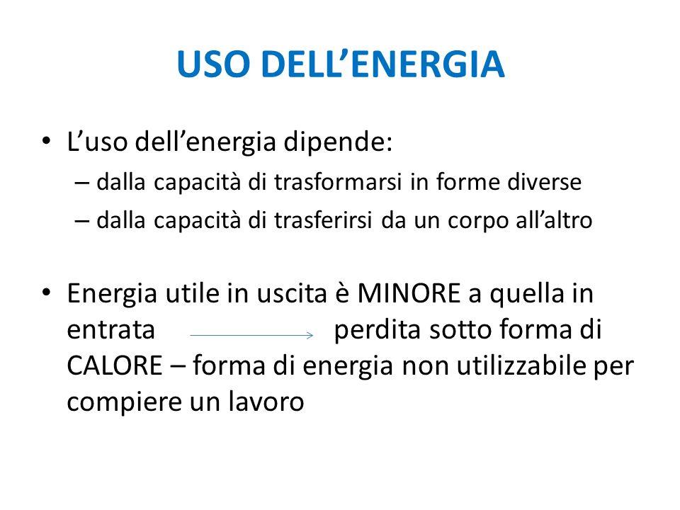 USO DELL'ENERGIA L'uso dell'energia dipende: – dalla capacità di trasformarsi in forme diverse – dalla capacità di trasferirsi da un corpo all'altro E
