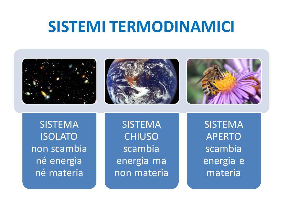 SISTEMI TERMODINAMICI SISTEMA ISOLATO non scambia né energia né materia SISTEMA CHIUSO scambia energia ma non materia SISTEMA APERTO scambia energia e