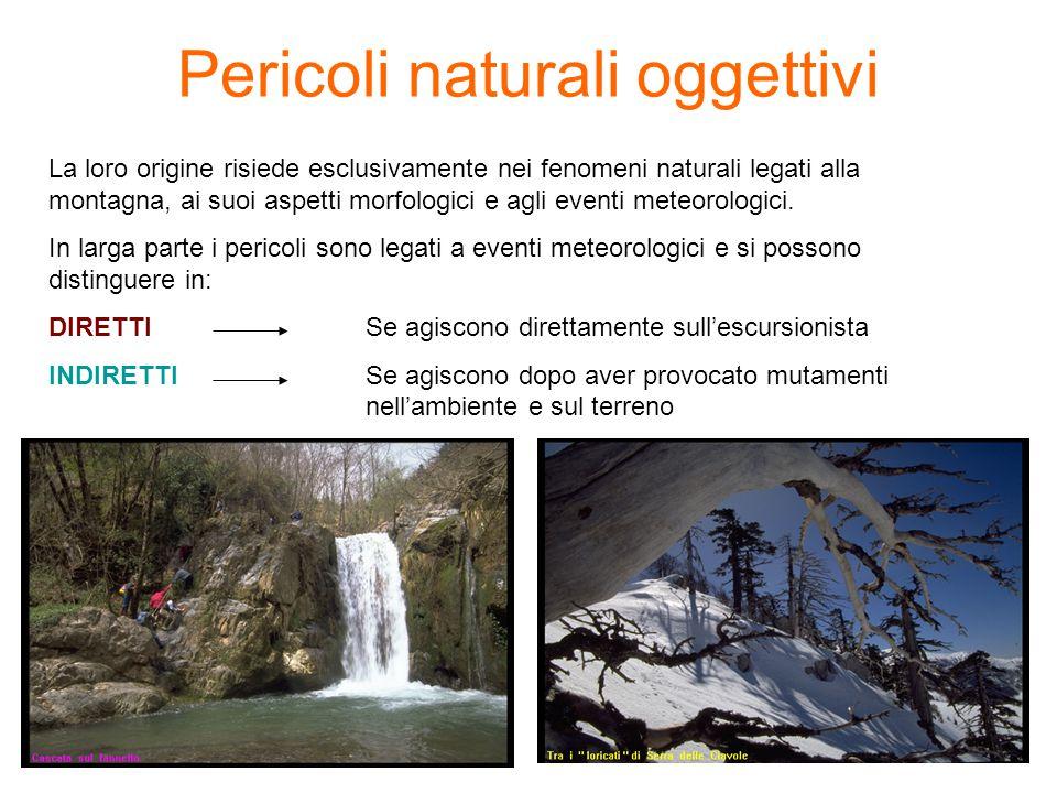 Pericoli naturali oggettivi La loro origine risiede esclusivamente nei fenomeni naturali legati alla montagna, ai suoi aspetti morfologici e agli eventi meteorologici.
