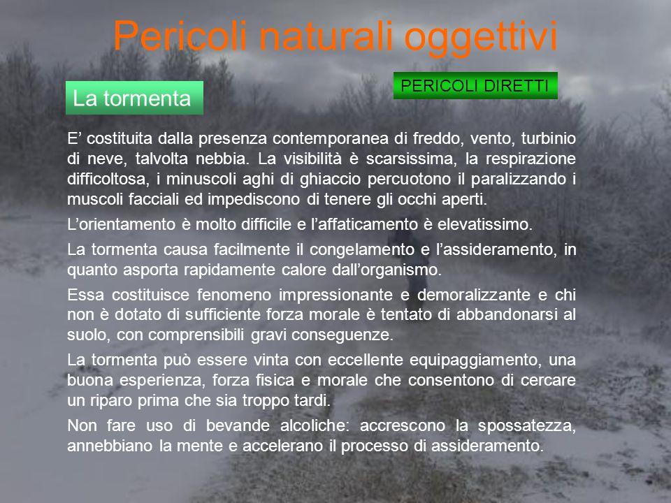 Pericoli naturali oggettivi PERICOLI DIRETTI La tormenta E' costituita dalla presenza contemporanea di freddo, vento, turbinio di neve, talvolta nebbia.
