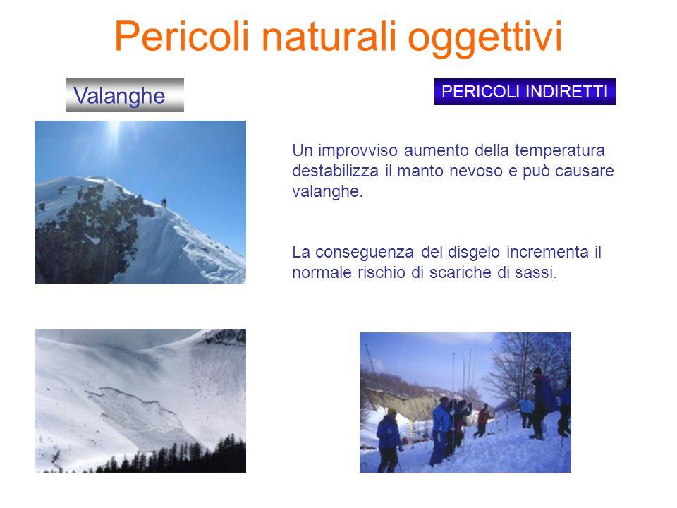 Pericoli naturali oggettivi PERICOLI INDIRETTI Valanghe Un improvviso aumento della temperatura destabilizza il manto nevoso e può causare valanghe.