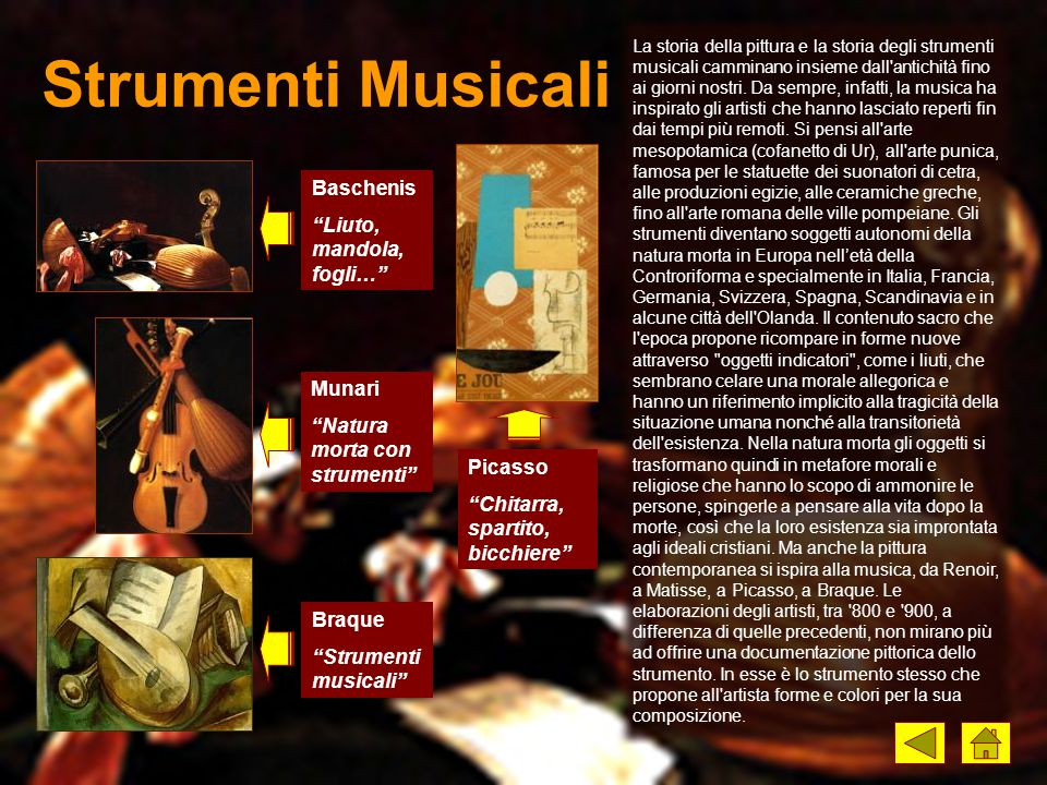"""Strumenti Musicali Baschenis """"Liuto, mandola, fogli…"""" Braque """"Strumenti musicali"""" Picasso """"Chitarra, spartito, bicchiere"""" Munari """"Natura morta con str"""