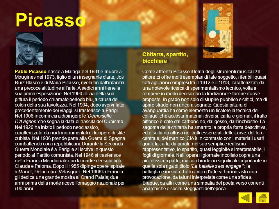 Picasso Come affronta Picasso il tema degli strumenti musicali? Il pittore ci offre molti esemplari di tale soggetto, riferibili quasi tutti agli anni