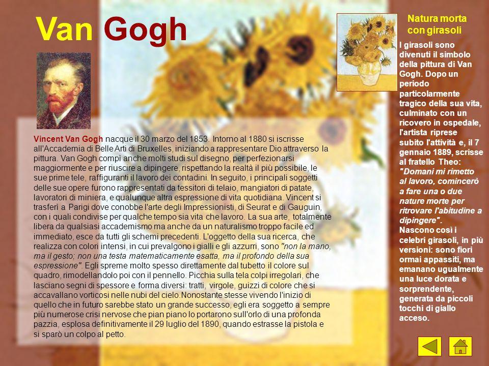 Van Gogh Vincent Van Gogh nacque il 30 marzo del 1853. Intorno al 1880 si iscrisse all'Accademia di Belle Arti di Bruxelles, iniziando a rappresentare