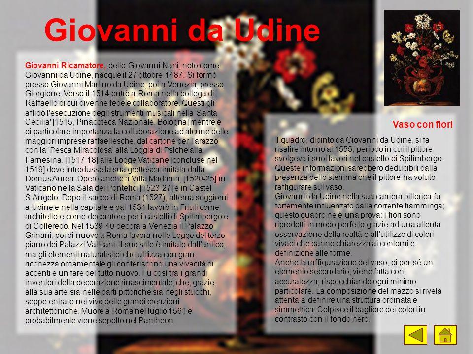 Giovanni da Udine Giovanni Ricamatore, detto Giovanni Nani, noto come Giovanni da Udine, nacque il 27 ottobre 1487. Si formò presso Giovanni Martino d