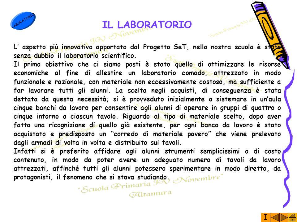 I LABORATORIO IL LABORATORIO L' aspetto più innovativo apportato dal Progetto SeT, nella nostra scuola è stato senza dubbio il laboratorio scientifico.