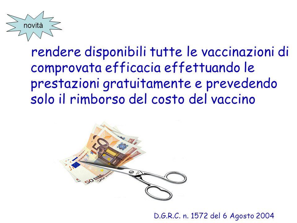 rendere disponibili tutte le vaccinazioni di comprovata efficacia effettuando le prestazioni gratuitamente e prevedendo solo il rimborso del costo del