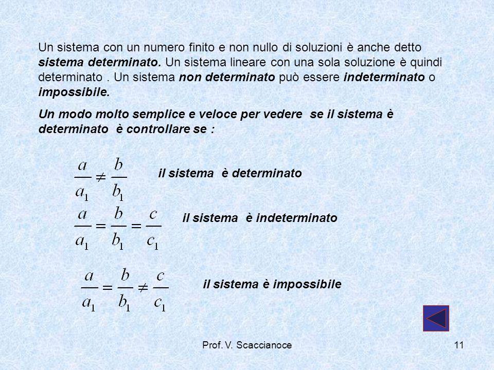 Un sistema con un numero finito e non nullo di soluzioni è anche detto sistema determinato. Un sistema lineare con una sola soluzione è quindi determi